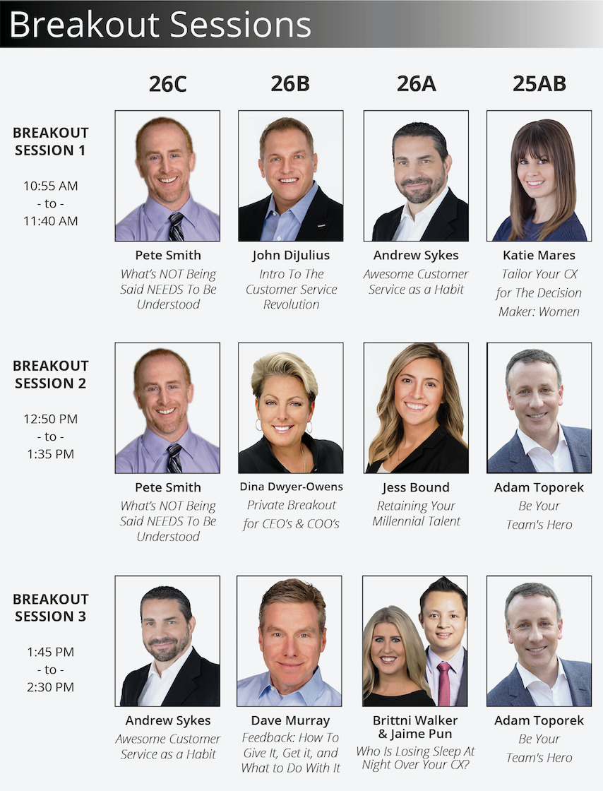 Speaker Breakout Lineup for the 2018 Customer Service Revolution Conference in Cleveland, Ohio at the Cleveland Convention Center