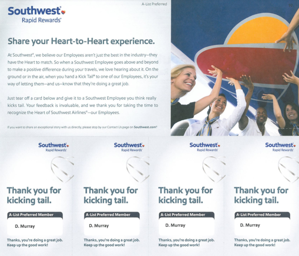 Southwest Airlines Kick Tails Program Requesting Customer Employee Recognition for Kicking Tail